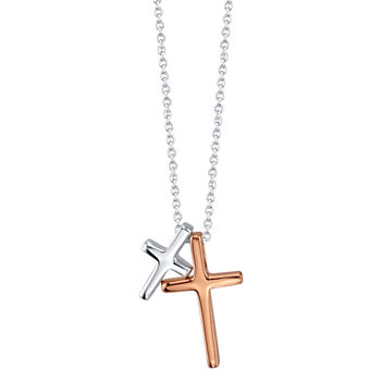 Footnotes Faith Sterling Silver 18 Inch Cable Cross Pendant Necklace