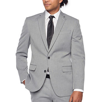 JF J Ferrar Light Gray Texture Super Slim Fit Stretch Suit Separates