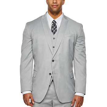 JF J.Ferrar Light Gray Big and Tall Fit Suit Separates