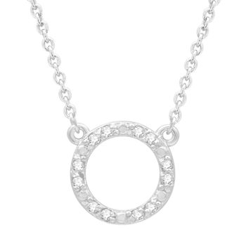 Silver Treasures 1/10 Ct. T.W. Diamond Sterling Silver 15 Inch Cable Pendant Necklace