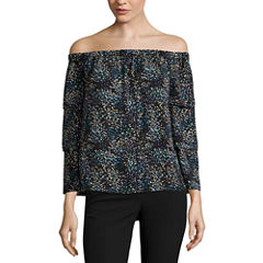 Worthington 3/4 Sleeve Off The Shoulder Dobby Blouse