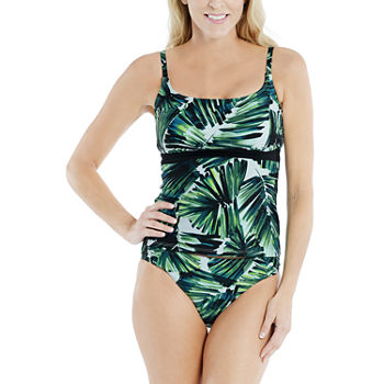 Mynah Tropical Leaf Tankini Swimsuit Top