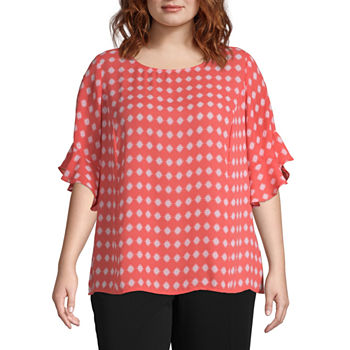 d31c3ac4c596 Plus Size 3/4 Sleeve Tops for Women - JCPenney