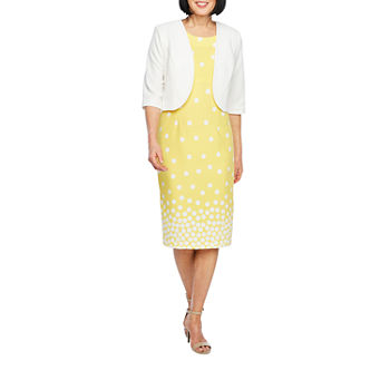 Maya Brooke 3/4 Sleeve Dot Print Jacket Dress