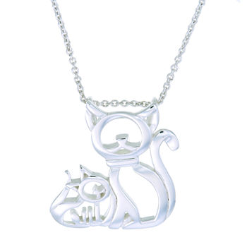 Footnotes Mama And Baby Cat Sterling Silver 18 Inch Cable Pendant Necklace