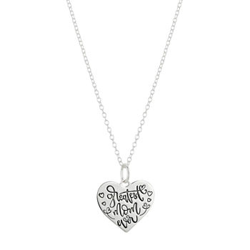Footnotes Mom Sterling Silver 18 Inch Cable Heart Pendant Necklace Set