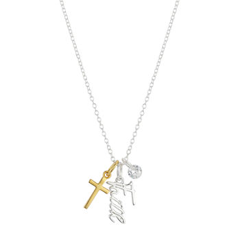 Footnotes Faith Zirconia Sterling Silver 18 Inch Cable Cross Pendant Necklace