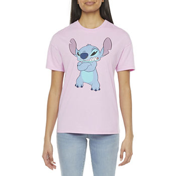 Juniors Womens Crew Neck Short Sleeve Lilo & Stitch Graphic T-Shirt