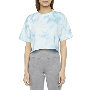 Flirtitude Womens Crew Neck Short Sleeve Crop Top-Juniors
