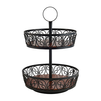 Gourmet Basics by Mikasa Rotating 2-Tier Round Basket
