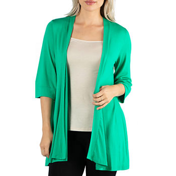 24/7 Comfort Apparel Open Front 3/4 Length Sleeve Cardigan