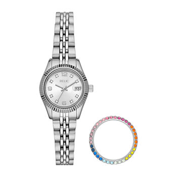 Relic By Fossil Keira Womens Crystal Accent Silver Tone Stainless Steel 2-pc. Watch Boxed Set-Zr12613set