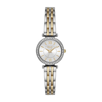 Relic By Fossil Kimberly Womens Crystal Accent Two Tone Bracelet Watch - Zr34593