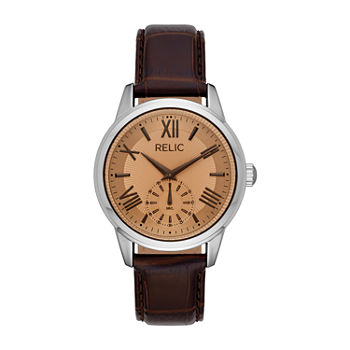 Relic By Fossil Myles Mens Brown Leather Strap Watch-Zr77325