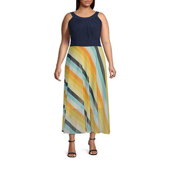 Studio 1-Plus Sleeveless Striped Maxi Dress