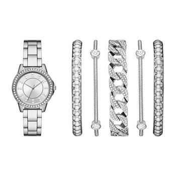 Mixit Ladies Womens Silver Tone 6-pc. Watch Boxed Set-Fmdjset063