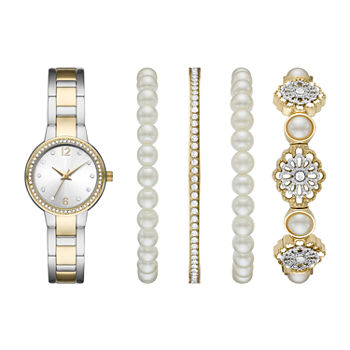 Mixit Ladies Womens Two Tone 5-pc. Watch Boxed Set-Fmdjset065