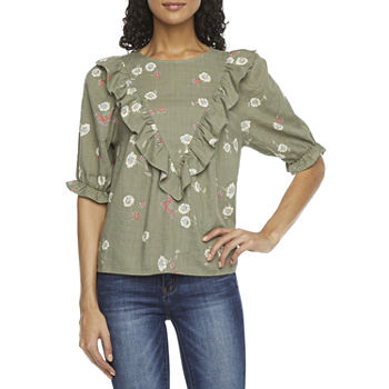 a.n.a-Tall Womens Crew Neck Elbow Sleeve Blouse