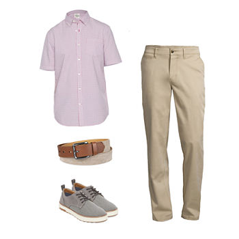 St. John's Bay Short Sleeve Check Shirt, Chino Pants and Oxford Shoes