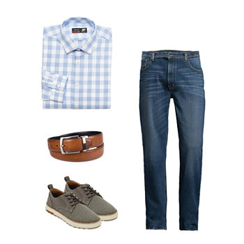 JF J. Ferrar Gingham Dress Shirt, St. John's Bay Jean and Oxford Shoes