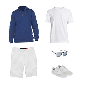 St. John's Bay Quarter Zip Pullover, T-Shirt, Shorts, JF J.Ferrar Sunglasses and Puma Skate Shoes