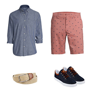 St. John's Bay Chambray Shirt, Printed Shorts and Lace-Up Shoes