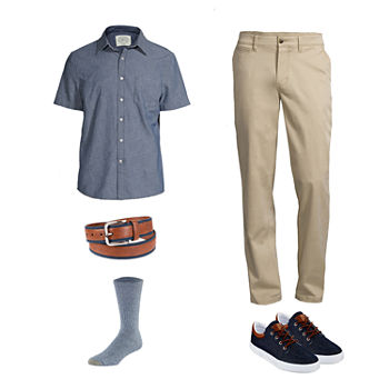 St. John's Bay No Tuck Shirt, Chino Pant, Lace-Up Shoes and Gold Toe Socks