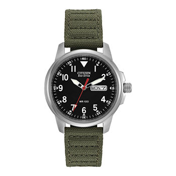 Citizen Military Mens Green Strap Watch-Bm8180-03e