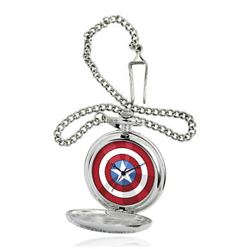Marvel® Captain America Shield Mens Silver-Tone Pocket Watch
