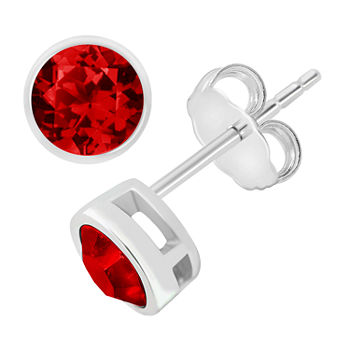 Itsy Bitsy Birthstone Crystal Sterling Silver 5.5mm Round Stud Earrings
