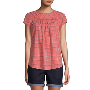 St. John's Bay-Tall Womens Crew Neck Short Sleeve Blouse