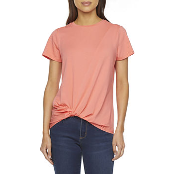 St. John's Bay Tall Womens Crew Neck Twist Front T-Shirt