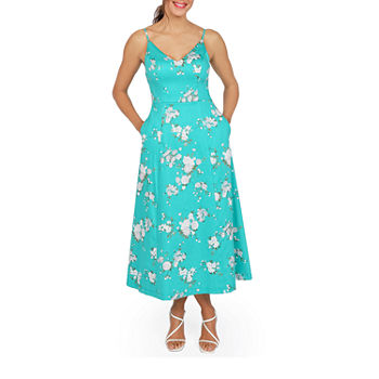 Premier Amour Sleeveless Floral Midi Fit & Flare Dress