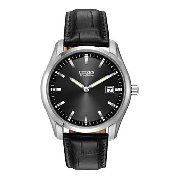 Citizen Corso Mens Black Leather Strap Watch-Au1040-08e
