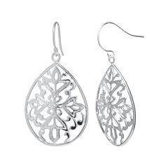 Silver-Plated Floral Filigree Pear-Shaped Drop Earrings