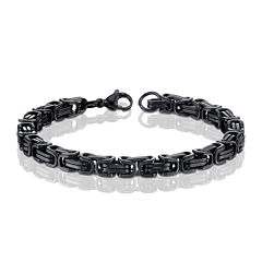 Mens Black Ion-Plated Stainless Steel Byzantine Chain Bracelet