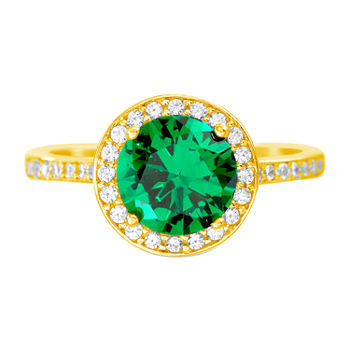 Silver Treasures Emerald 14K Gold Over Silver Cocktail Ring
