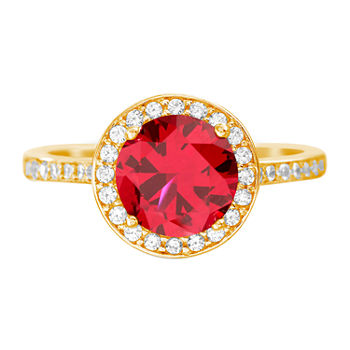 Silver Treasures Ruby 14K Gold Over Silver Cocktail Ring