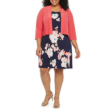 Ronni Nicole 3/4 Sleeve Floral Puff Print Jacket Dress-Plus