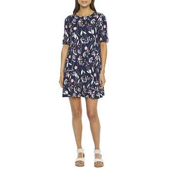 St. John's Bay Short Sleeve Dots A-Line Dress