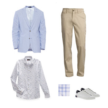 Stafford Sport Coat, JF J. Ferrar Floral Shirt & Belt, St. John's Bay Chino Pant and Vans Shoes