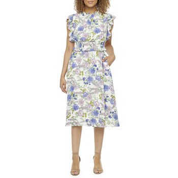 Donna Ricco Sleeveless Floral Fit & Flare Dress