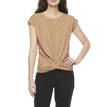 Worthington Womens Draped Crepe Top - Tall