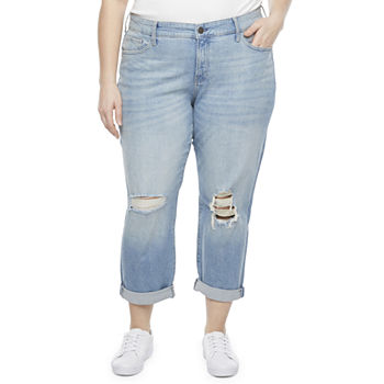 a.n.a-Plus Womens Destructed Boyfriend Jeans