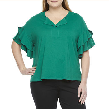 Worthington-Plus Womens Split Crew Neck Elbow Sleeve Blouse