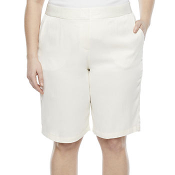 "Worthington Womens High Rise 12"" Bermuda Short-Plus"