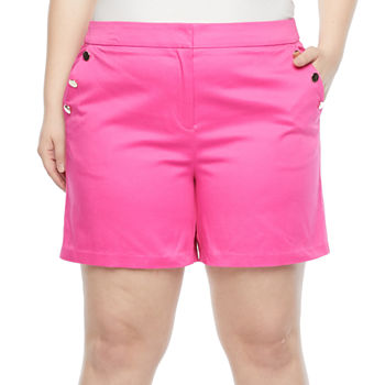Worthington Womens Pull-On Short-Plus