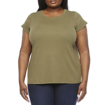 Liz Claiborne Short Sleeve Crew Neck Tee-Plus