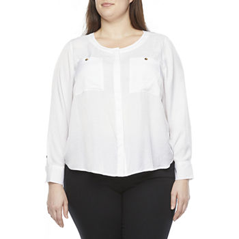Liz Claiborne-Plus Womens Round Neck Long Sleeve Blouse