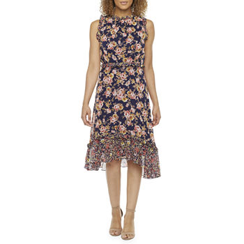 Donna Ricco Sleeveless Floral High-Low Fit & Flare Dress
